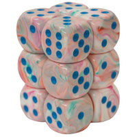 Chessex: 16mm D6 (12 Dice): Festive: Pop Art/Blue (27744)