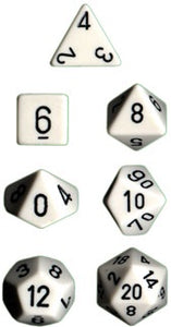 Chessex: Poly Set (7 Dice): Opaque: White / Black (25401)
