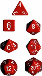Chessex: Poly Set (7 Dice): Opaque: Red / White (25404)