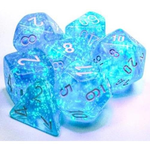 Chessex Dice Poly Set (7) Borealis: Sky Blue/White Luminary (27586)