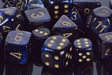 Chessex: Poly Set (7 Dice): Scarab: Royal Blue/Gold (27427)