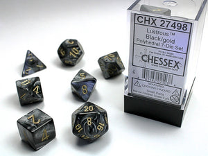 Chessex Poly Set (7 Dice): Lustrous: Black / Gold (27498)