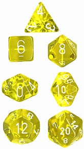 Chessex Poly Set (7 Dice): Translucent: Yellow / White (23072)