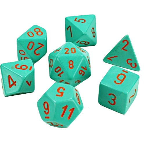 Chessex Dice: Poly Set (7): Lab Dice 4 Turquoise / Orange (30039)