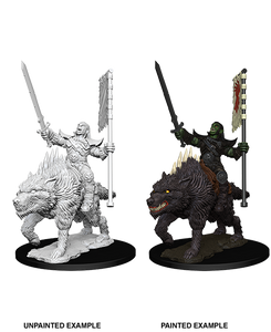Pathfinder Deep Cuts Unpainted Miniatures: Orc on Dire Wolf (73548)