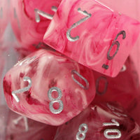 Chessex: Poly Set (7 Dice): Ghostly Glow: Pink / Silver (27524)
