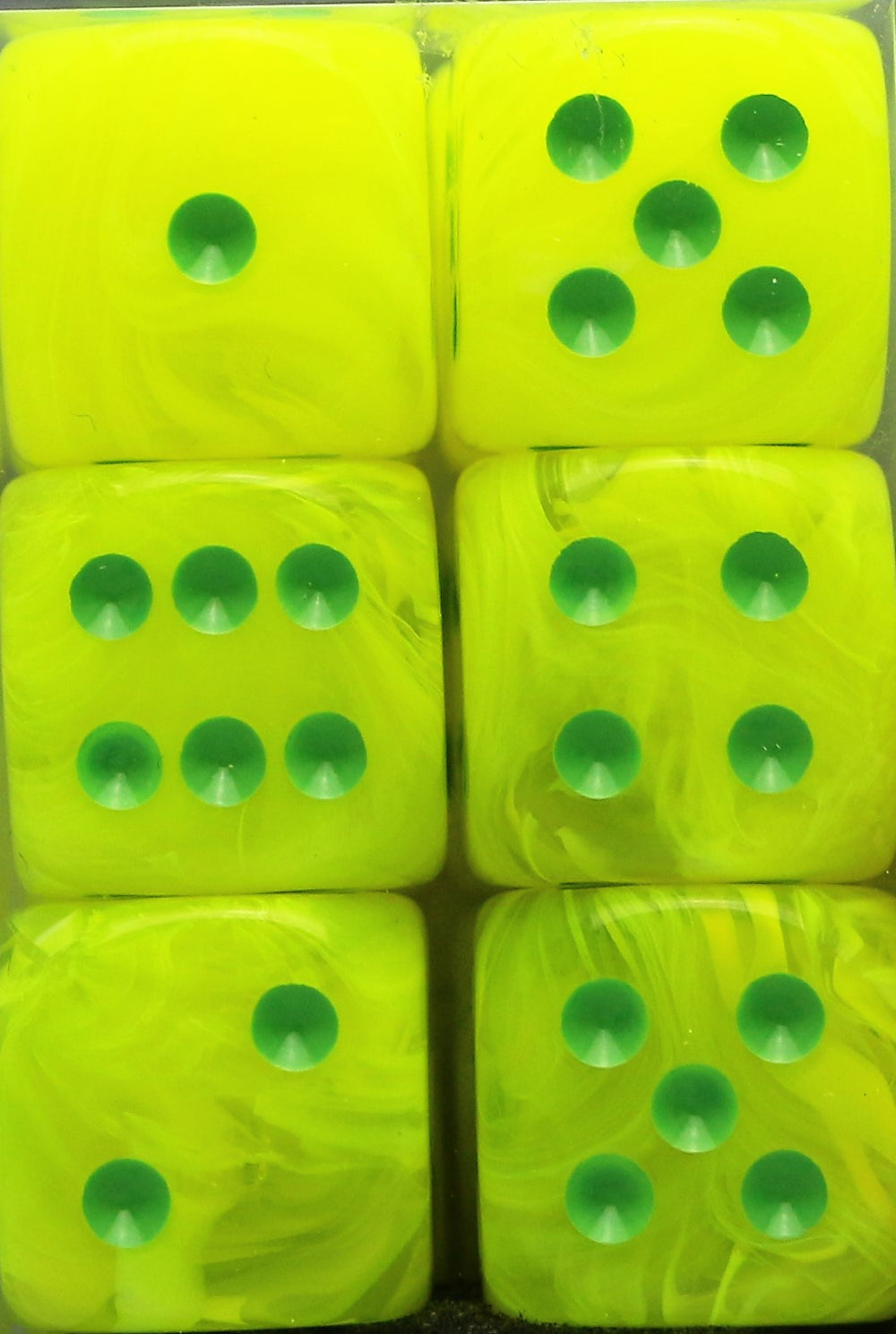Chessex: 16mm D6 (12 Dice): Vortex: Electric Yellow / Green (27622)