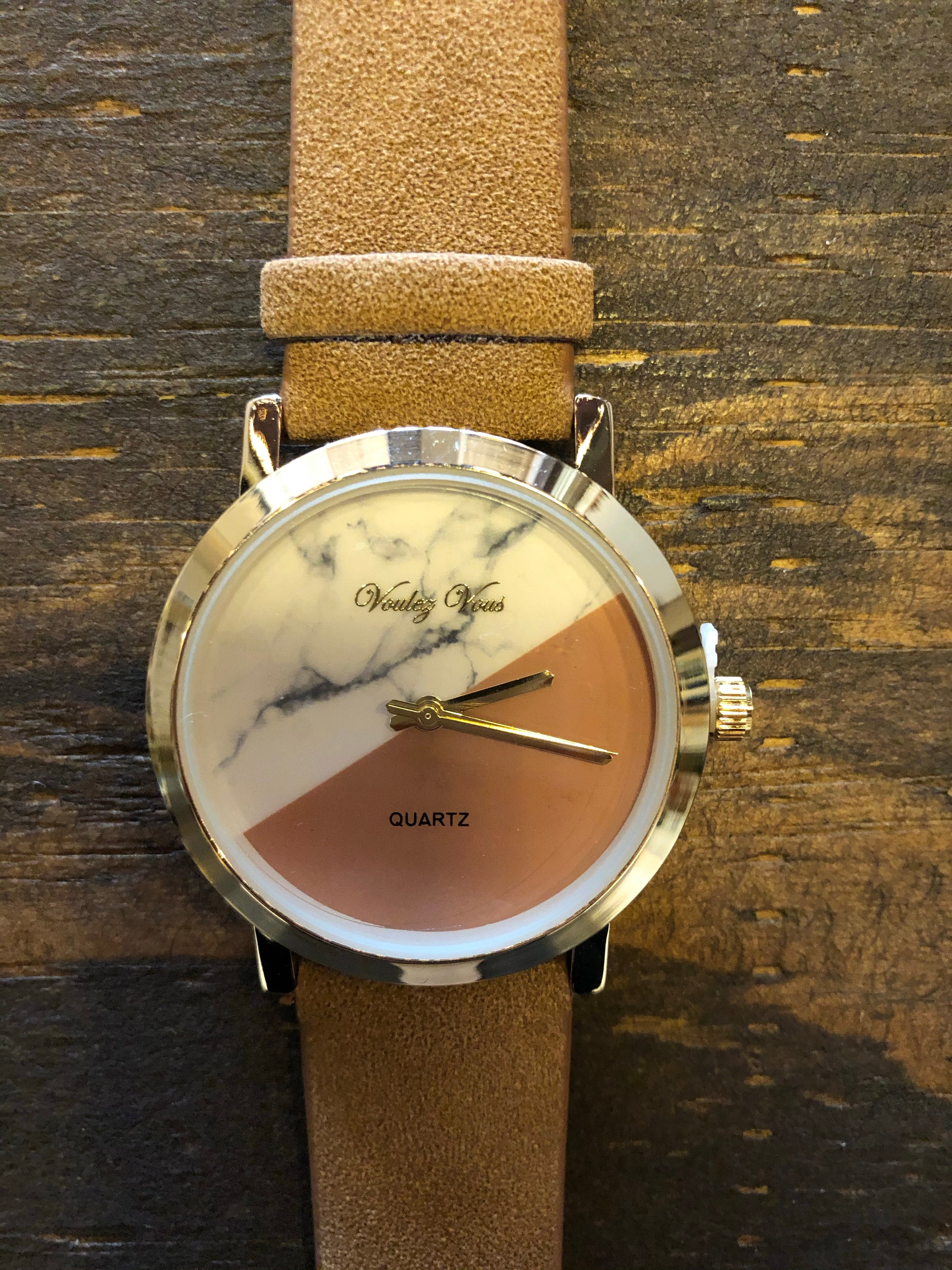 Marble Watch W/ Faux Leather Band