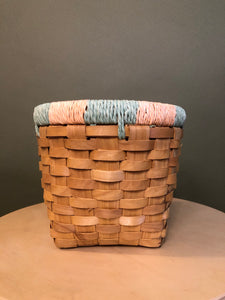 Wicker Basket with Yarn Accents