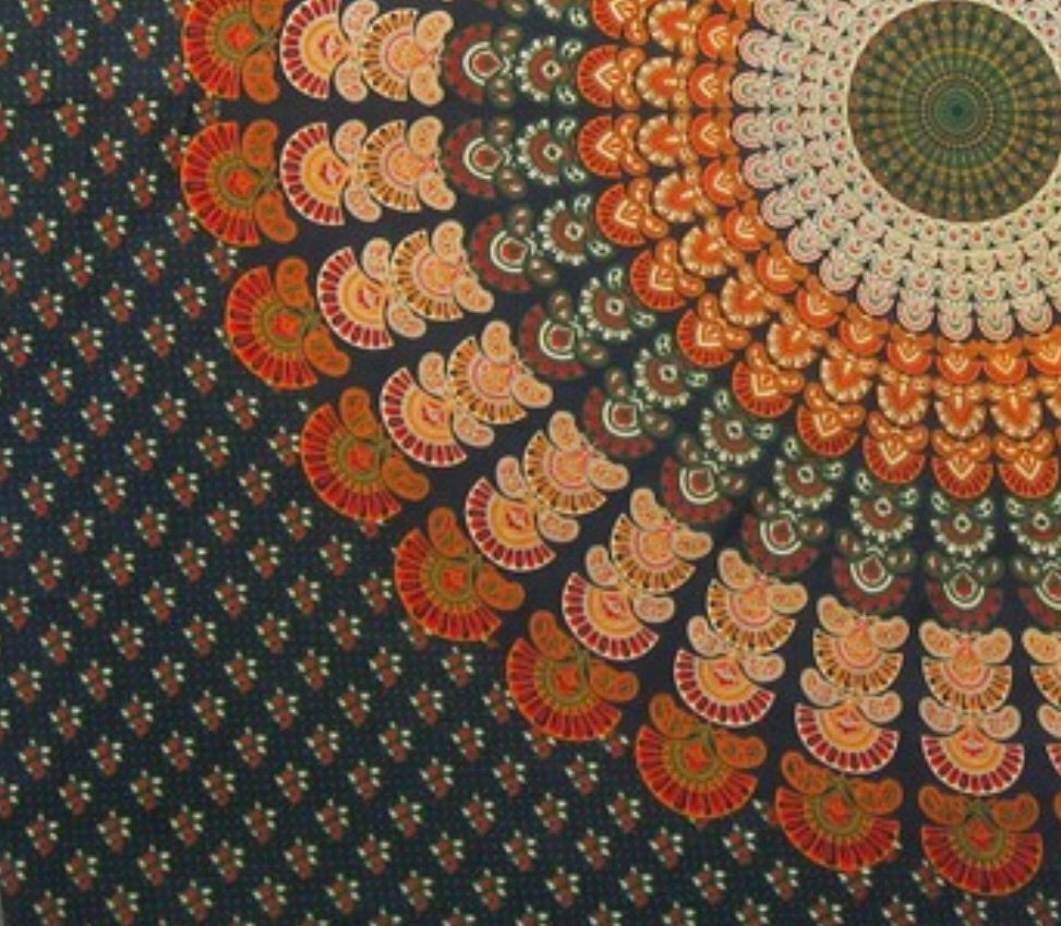 Peacock Mandala Tapestry-Green/Orange