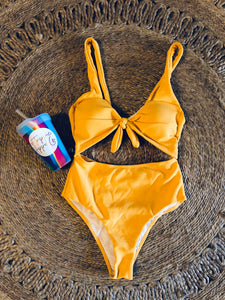 Cut Out Mustard Swim Suit