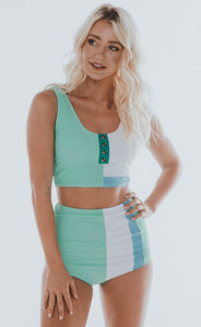 Mint Color Block Swim Top