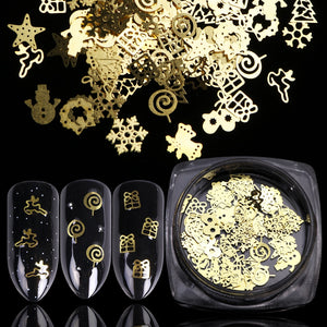 Christmas 3D Gold Hollow Nail Decorations Snowflake Star