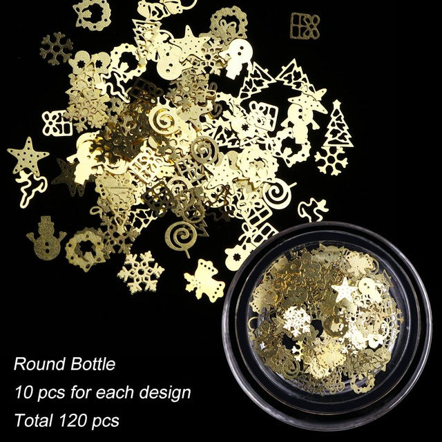 3D Gold Hollow Christmas Nail Art Decorations Snowflake Star Mixed Design
