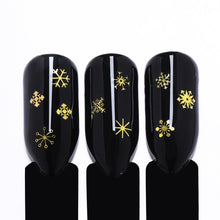 Christmas 3D Nail Decorations Gold Metal Snowflakes