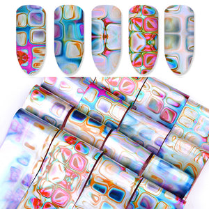 16 Pcs Ocean Blooming Pattern Gradient Maze Design Nail Transfer Foils Set 4*20cm