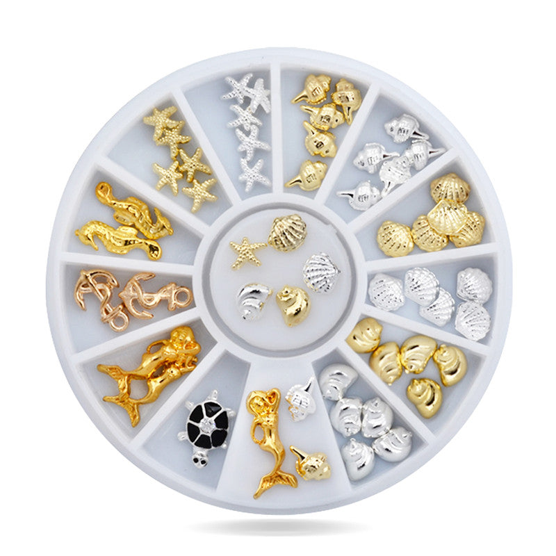 Ocean Sea Design Gold Silver 3d Alloy Nail Art Jewelry
