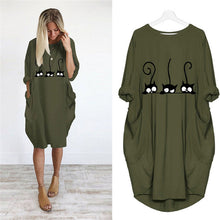 Cat Pocket Loose Dress Plus Size