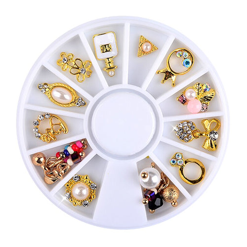 3d Charm Alloy Nail Art Rhinestone Decoration Wheel