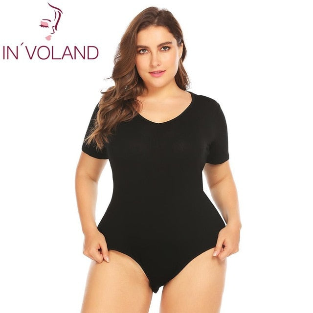 Plus Size Short Sleeve Cotton Bodysuit