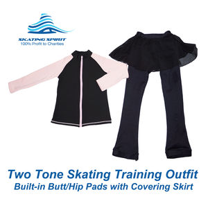 Two-tone Skating Training Outfit with Built-in Butt/Hip Pads
