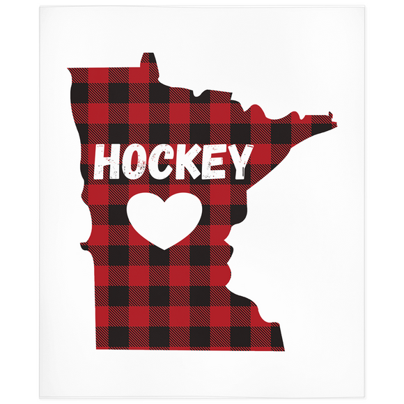 Minnesota Hockey Buffalo Plaid Minky Blanket