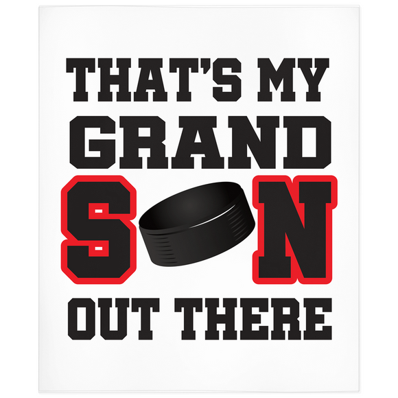 That's My Grandson Out There Hockey Red Minky Blanket