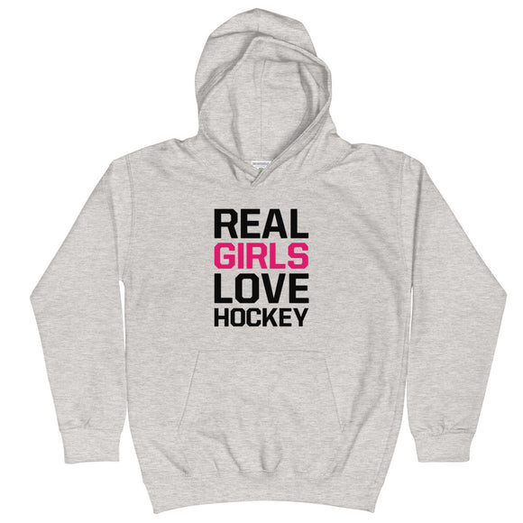 Real Girls Love Hockey Kids Hoodie Hooded Sweatshirt