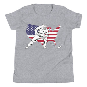 Hockey Player USA Map Flag Patriotic Youth Short Sleeve T-Shirt