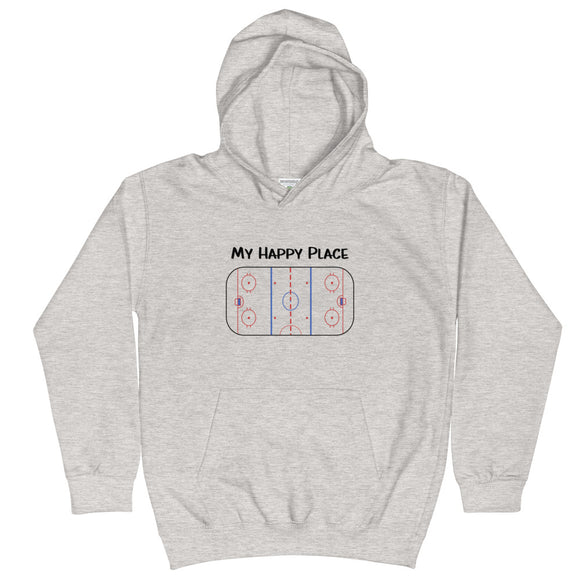 My Happy Place Hockey Kids Hoodie Hooded Sweatshirt
