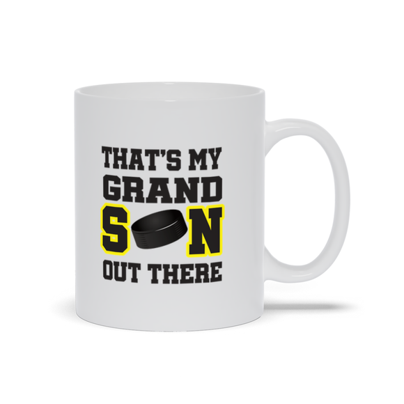 That's My Grandson Out There Hockey yellow Ceramic Coffee Mug