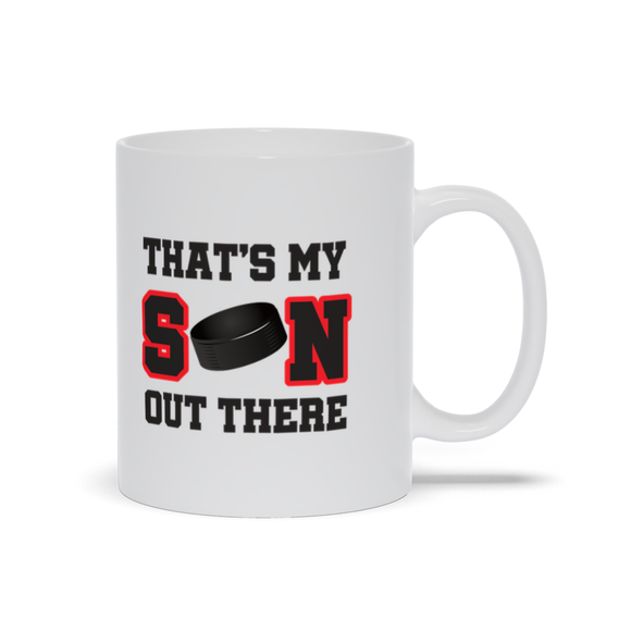 That's My Son Out There Hockey Red Ceramic Coffee Mug