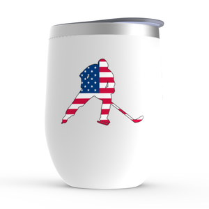 Hockey Player USA American Flag Patriotic Stemless Wine Tumbler