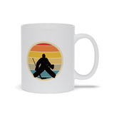 Hockey Goalie Sunset Silhouette Ceramic Coffee Mug