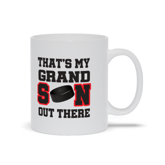 That's My Grandson Out There Hockey red Ceramic Coffee Mug