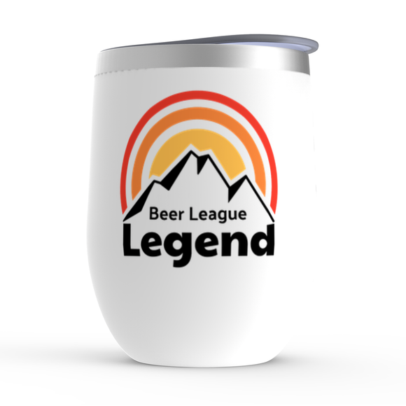 Beer League Legend Hockey Mountains Stemless Wine Tumbler