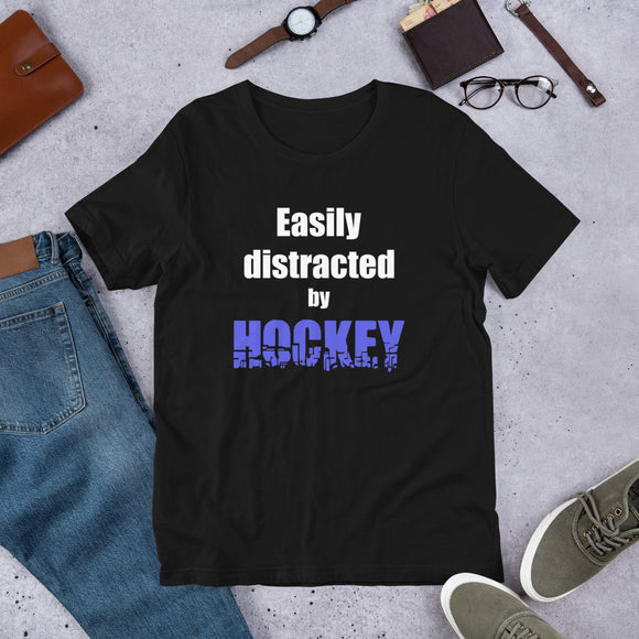 Easily Distracted by Hockey Short-Sleeve Unisex T-Shirt