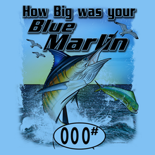 Load image into Gallery viewer, Blue Marlin (Custom Fish Size) Long Sleeve Adult Tee