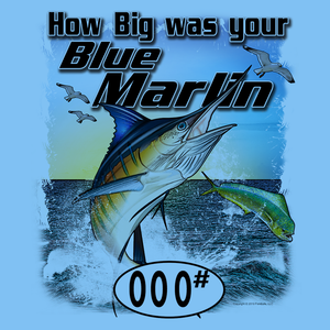 Blue Marlin (Custom Fish Size) Long Sleeve Adult Tee