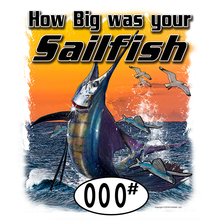 Load image into Gallery viewer, SailFish (Custom Fish Size) Adult Short Sleeve Tee