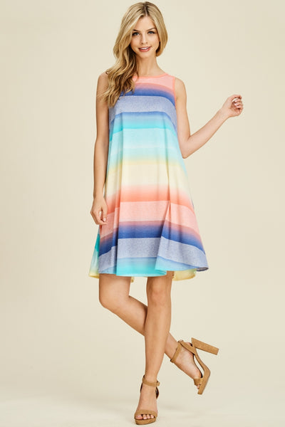Multi-Color Stripe A-Line Sleeveless Dress