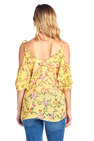 Cold Shoulder Floral Chiffon Blouse