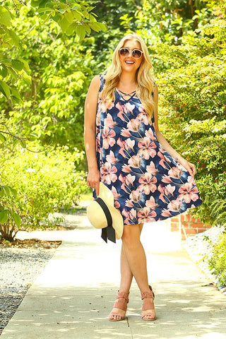 Watercolor Floral Printed Tunic Dress