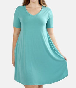 V-NECK SHORT SLEEVE ROUND HEM A-LINE DRESS WITH SIDE POCKETS
