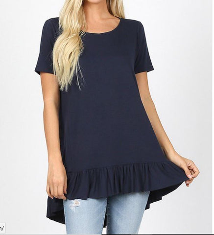 SHORT SLEEVE ROUND NECK RUFFLE BOTTOM HI-LOW HEM TOP