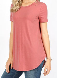 SHORT SLEEVE ROUND NECK ROUND HEM TOP