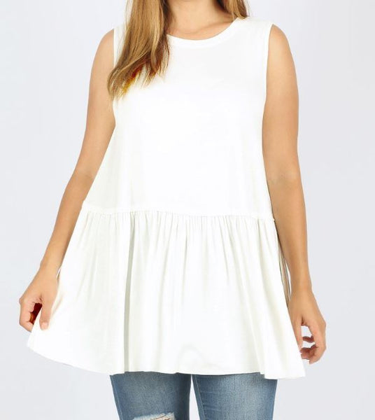 PLUS RUFFLE BOTTOM SLEEVELESS TOP