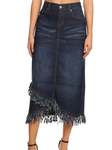 Distressed Denim Skirt - Knee Length