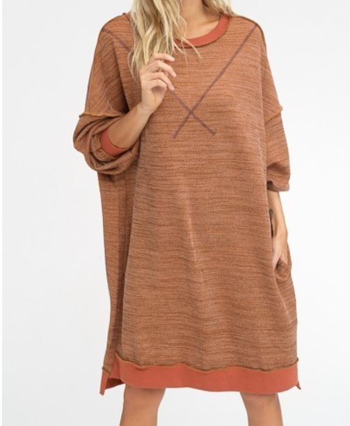 Loose Fit Two Tone Sweat Dress - Brick