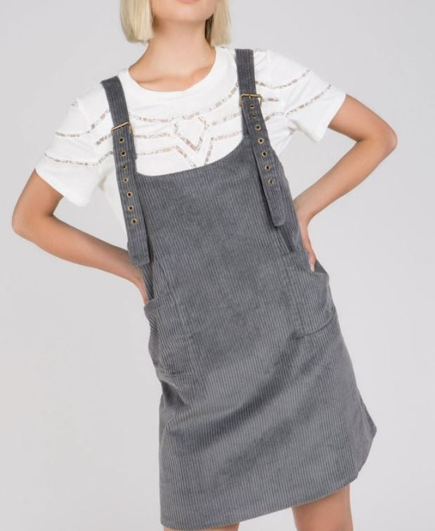 Overall Strap Corduroy Dress with Adjustable Straps